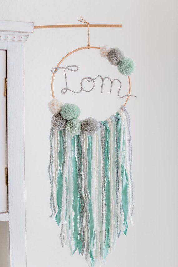 Dream Catcher With Name Nursery Macramee Bombings Bommel