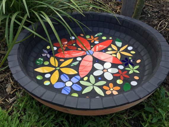 Springtime Birdbath/Water Bowl Ready to by RebeccaNaylorMosaics