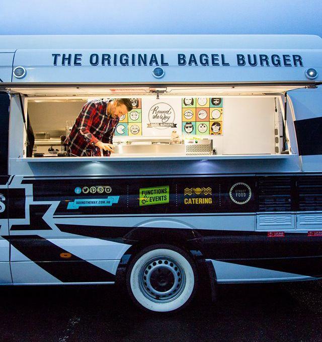 BAGEL FOOD TRUCK IN ACTION.. #foodtruck #bagel #bagelburger #art #catering #streetfood #mercedes #sprinter #whitewalltyres #bagels #ballarat #melbourne #geelong