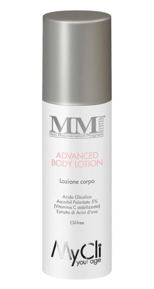 ADVANCED BODY LOTION (150 ml)  Lozione corpo rivitalizzante ed  anti-smagliature. Contiene Acido  Glicolico al 30%.   Maggiori info a community@mycli.com