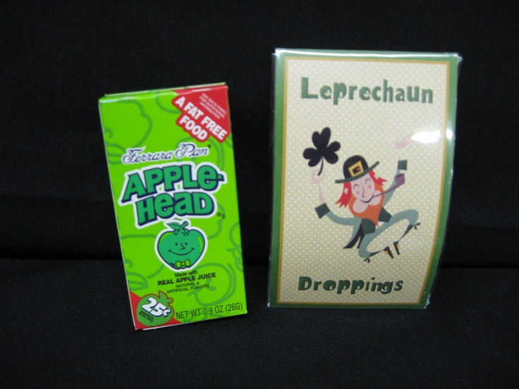 "Leprechaun Droppings  A little bag that will remind someone that the Lucky Leprechaun has come for a visit!  A package of green appleheads are ""substituted"" for REAL Leprechaun droppings!  A fun gift to leave on a child's pillow or at to have sitting by their breakfast the morning of St. Patrick's Day."