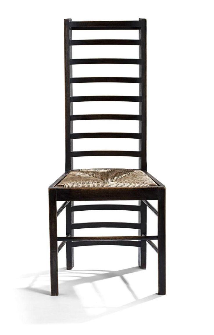 """Чарльз Ренни Макинтош (1868-1928) для стула MISS Крэнстон'S Willow чайных EBONISED дуба """"лестницы назад», около 1903 104.5cm высокий,"""