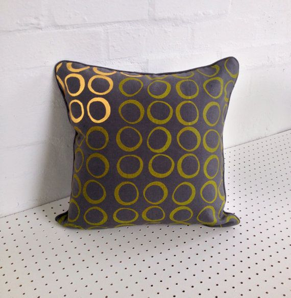 Hand printed cushion cover in grey 100% linen, screen printed by hand with yellow and gold circle design