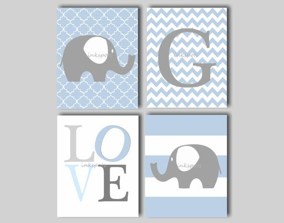 This 8 x 10 print collection includes an elephant on a moroccan background, a monogram print on a chevron background, a LOVE print and an