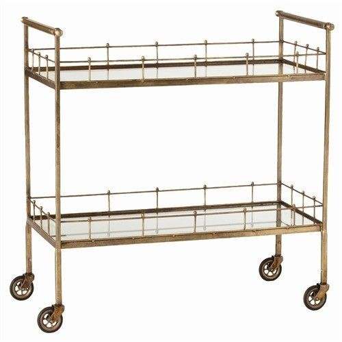 The Well Appointed House Arteriors Two Tiered Bar Cart in Vintage Brass with Mirrored Glass Shelves