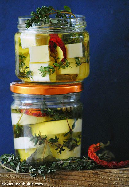 Goat's Cheese Marinated with Fresh Herbs by dokuzuncubulut #Goat_Cheese #Herbs