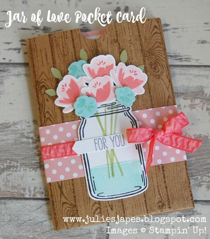 Jar of Love pocket card, hardwood, Stampin Up