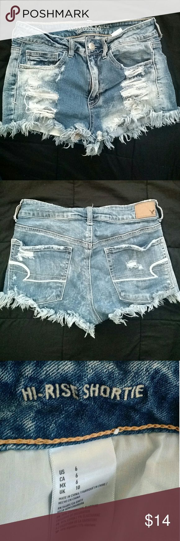 American Eagle Hi-Rise Shortie Denim Shorts Sz 6 Women's American Eagle Shorts Denim/ Jean Shorts Distressed acid wash. Stretch Hi-Rise Shortie Size 6 99% Cotton 1% Elastane Excellent condition! From a smoke-free and pet-free home. American Eagle Outfitters Shorts Jean Shorts