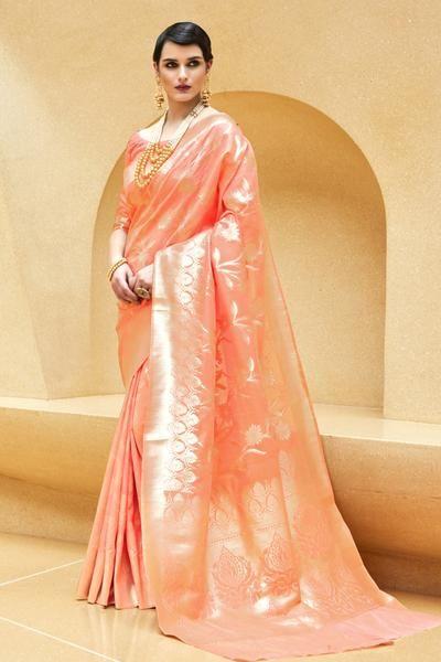 b7add78802 Golden peach Banarasi brocade Silk Saree in 2019 | my wedding ...