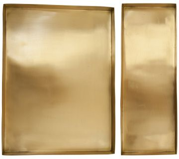 These beautiful trays are made out of hand polished matte brass, giving them that soft golden look. The square tray is perfect for serving up drinks in style, and can also be used in your kitchen to keep your benchtop tidy, or even as bathroom storage!  Long Tray: 36x13.5x3cm  Square Tray: 36x27x3cm