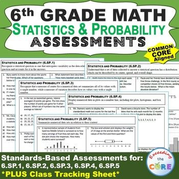 6th Grade STATISTICS & PROBABILITY (6.SP) Common Core  What is included: ► a 1-page quick assessment for EVERY standard in the STATISTICS & PROBABILITY domain for 6th grade ► a CLASS TRACKING SHEET to look at all of your students progress at a glance.  Perfect for math homework, math quizzes, test prep and math centers.  6th grade math common core 6.SP.1, 6.SP.2, 6.SP.3, 6.SP.4, 6.SP.5