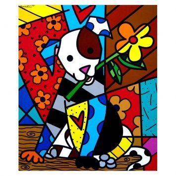 "Gravura - Romero Britto - ""Dog"""