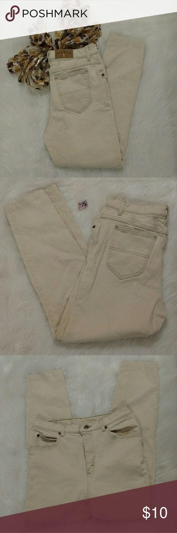Riders jeans Cream color riders jeans. Still in great shape with a lot of life left. The only show of wear are two small spots, one on the top waist band of the jeans and one on the bottom right leg. These are not noticeable with out close inspection but I try to be extremely honest about the items in my closet. Size 12M waist 29/30 inches and 27.5 inseam. They are not skinny jeans but they are slimmer fitting towards the bottom. Riders Jeans
