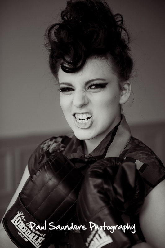 Boxing themed model picture. Love the attitude on this shot from a fashion photography shoot in Glasgow.