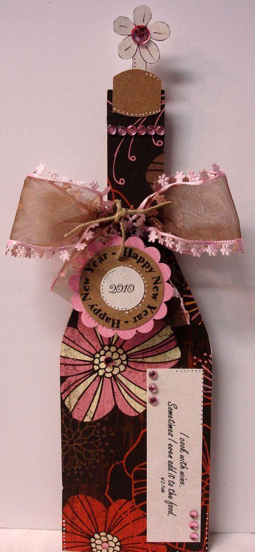 wine bottle shaped card     fabulous new year u0026 39 s card