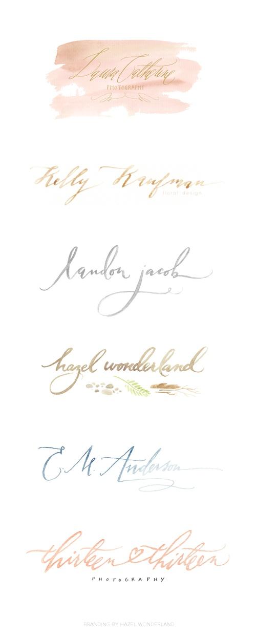 Watercolor Logos by Meredith C. Bullock of Hazel Wonderland http://meredithcbullock.com/