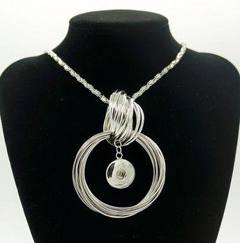 Nuovo modo a scatto in metallo della collana del metallo rotonda circles elegante length76cm fit 18mm bottoni a pressione jewlery donne all'ingrosso