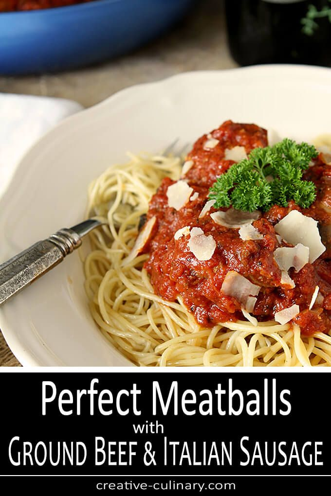 These Really Are The Perfect Meatballs With Ground Beef And Italian Sausage Giving Them The Best Flavor Almost Mak In 2020 Italian Sausage Recipes Ground Beef Food Recipes