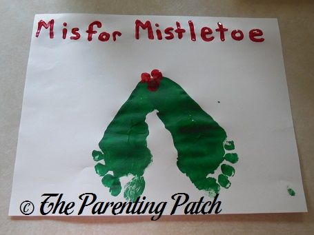 M Is for Mistletoe Footprint Craft (Day 14 of 25 Days of Christmas) | Parenting Patch