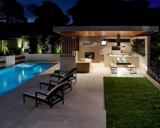 Heatmaster Fireplace featured in this stunning indoor outdoor living space with pool #heatmaster #fireplace #home #design