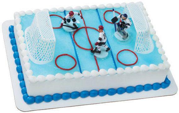Hockey Cake Decoration by ABirthdayPlace on Etsy, $8.99