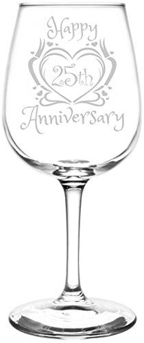 25th | Heart & Ribbon Happy Anniversary Inspired - Laser Engraved Libbey All-Purpose Wine Glass.  Fast Free Shipping & 100% Satisfaction Guaranteed.  The Perfect Gift!