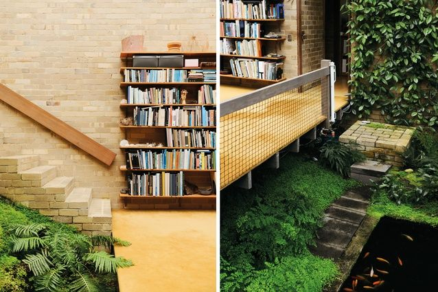 The Featherston House has a completely internal garden with a series of platforms floating over the greenery and pond. Architect Robin Boyd