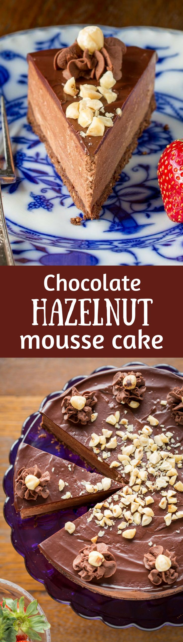 Chocolate Hazelnut Mousse Cake ~ a light and fluffy Nutella chocolate mousse spread over a chocolate hazelnut shortbread crust, topped with a simple chocolate ganache and garnished with chopped toasted hazelnuts.