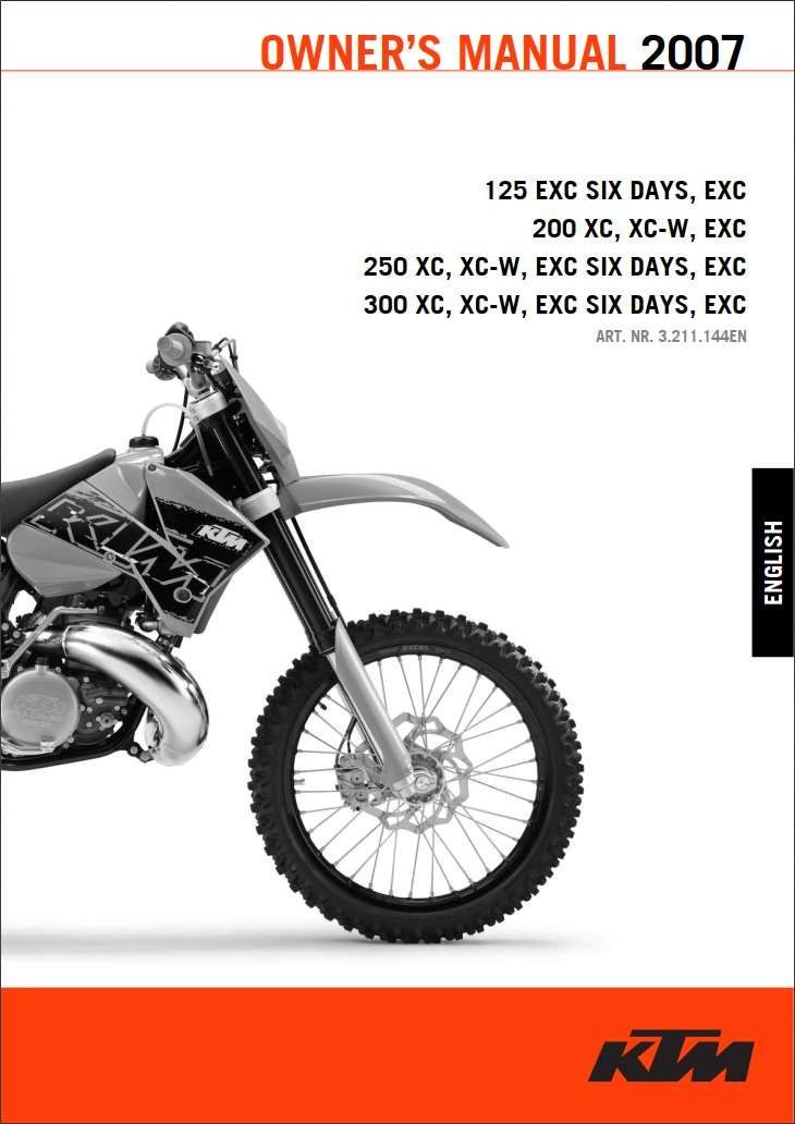 Ktm 125 200 250 300 2007 Owner S Manual Has Been Published On Procarmanuals Com Https Procarmanuals Com Ktm 125 200 250 300 2007 Owners Manuals Ktm Manual