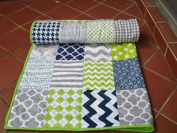 Nautical Baby quiltnavy bluegreylime greenBaby boy by happyquilts
