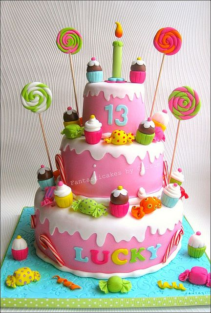 Candy and Cupcakes Cake...@Danielle Lampert Cappelli