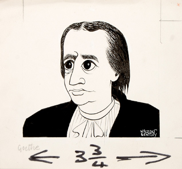 Goethe. Portrait of the author as a young man, perhaps on the occasion of the 1965 reissue of G. H. Lewes's Life of Goethe.    Sheet size: 161 × 175 mm. Pen and ink on wove paper. Stamped on verso for publication in the Sunday Telegraph.