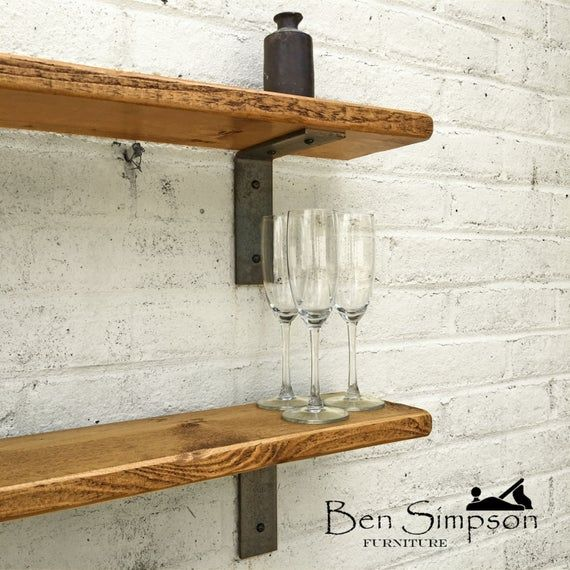 Rustic Shelves Handcrafted With Industrial Metal Shelf Etsy Rustic Shelves Solid Wood Shelves Metal Shelves