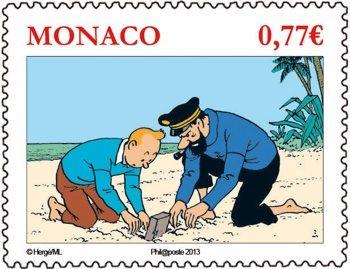 Haddock und Tim auf monegassisch: Briefmarke aus Monaco 2012