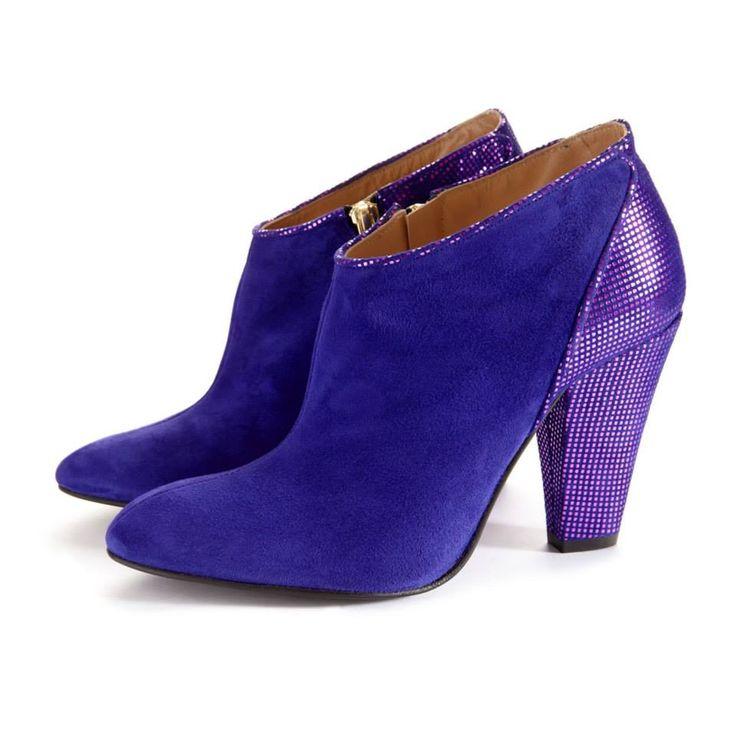 CLEO B 'Sapphira' purple shoe boot #pixel #collection #shoe #boots #heels #purple #glitter #suede #fashion #designer #london #style