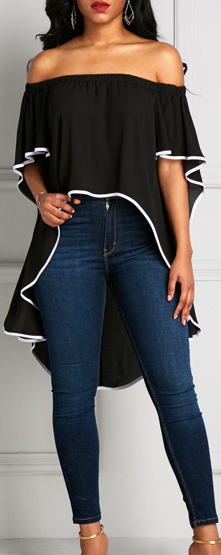 Linda blusa negra estilo campesinos