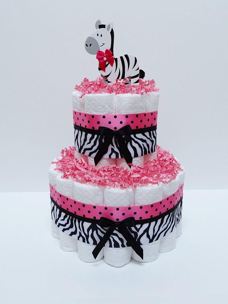 Hot Pink Safari Diaper Cake Baby Shower by LanasDiaperCakeShop, $25.99