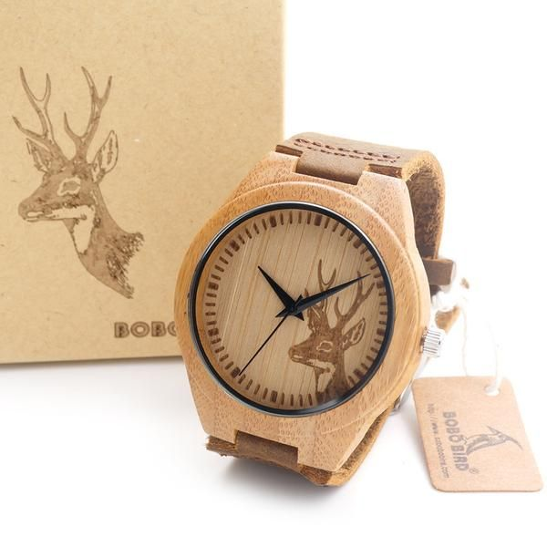 2016 BOBO BIRD Men's Bamboo Wooden Watch Quartz with Real Leather Strap With Gift Box