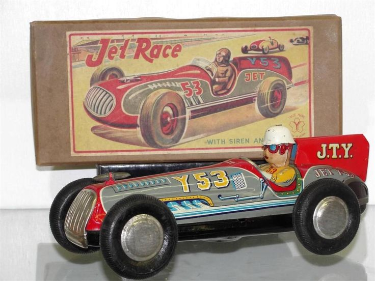 Jty Jet Racer Race Car Japan Tin Toy Friction Original Box