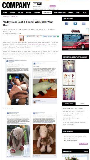 COMPANY Magazine  http://www.company.co.uk/magazine-hq/teddy-bear-lost-found-facebook