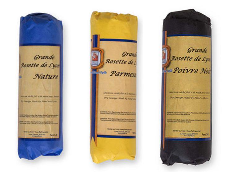 Les Importations Papille - Rosette de Lyon, 950GR. Available flavours: Black Pepper, Hot Pepper, Permesan, Plain, Chianti,  Mild Genoa, Spicy Sopressata &  Chorizo. For more info. please contact us.