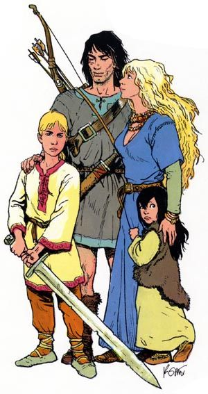 One of my favourite comic books: Thorgal, by the writer Jean Van Hamme and the graphic artist Grzegorz Rosinski. The picture represents his family: his wife Aaricia, his son Jolan, and his daughter Louve.