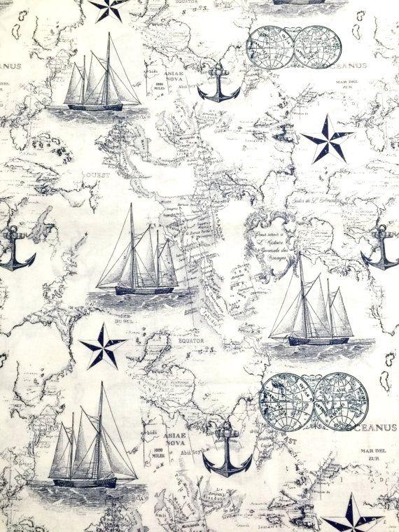 Tela náutica náutica mapa 100% algodón para por RomiWstudio en Etsy