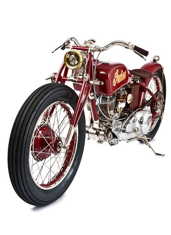 ♂ 1940 INDIAN BY THE GASBOX Red Indian motorcycle from http://www.bikeexif.com/indian-motorcycle