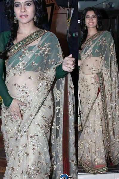 USD 108.62 Kajol Brown Net Bollywood Saree 34581