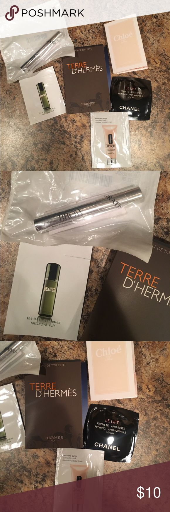 Makeup Sample Bundle Makeup sample bundle, includes Hermes perfume, Chloe perfume, Chanel serum, Clinique moisturizer, Neubrow sample, and La Mer moisturizer. Makeup