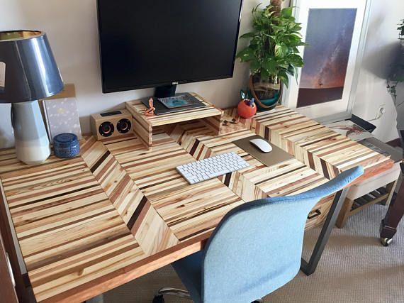 Reclaimed Wood Desk Butcher Block Countertop Table Top Handmade Modern Pallet End Grain Reclaimed Wood Desk Wood Desk Woodworking Inspiration