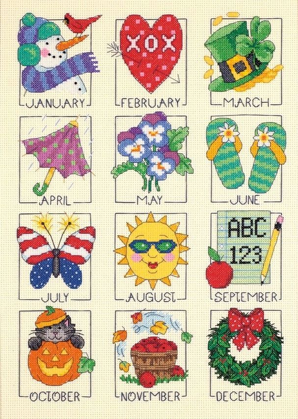 Dimensions Crafts - A Year of Events Calendar Counted Cross Stitch Kit # 35235