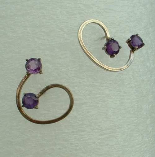 Sterling Silver Purple Amethyst Earrings Post Style Mod Design Jewelry