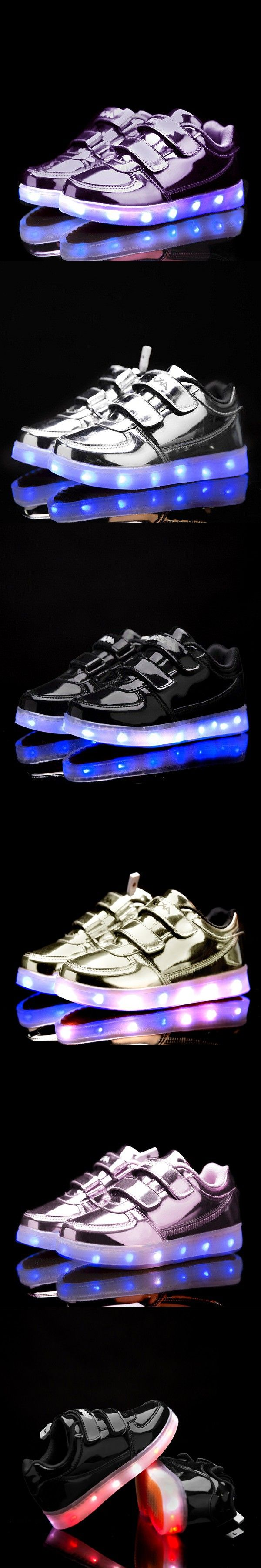 Classic White Child Lighted Shoes For Girls Boys Colorful Glow Kids Sneakers Charge Luminous Teenage Shoes Chaussure Enfant LED $27.8
